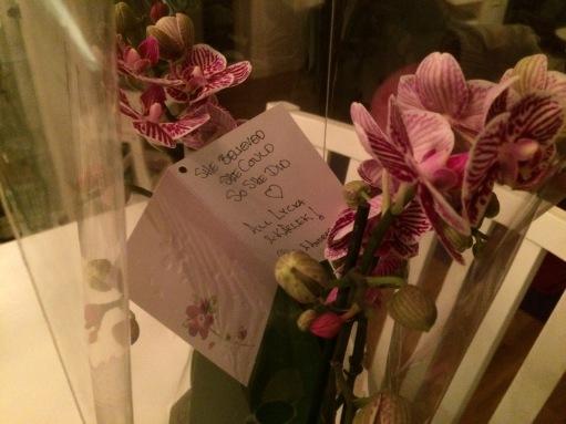 She believed she could. So she did. Minst två av besökarna hade läst min blogg. Tack Åsa och Anders fört kort, choklad och vacker blomma!